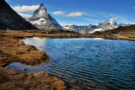 Mt Matterhorn reflected in Riffelsee Lake Zermatt Canton of Valais Switzerland Stock Photo