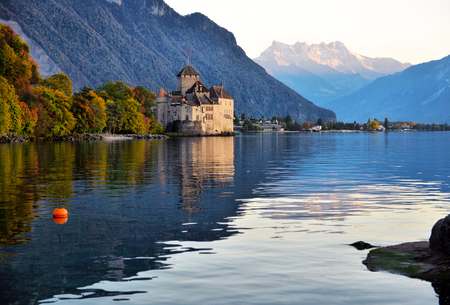 view of famous Chateau de Chillon at Lake Geneva one of Switzerland's. Canton of Montreux Switzerland
