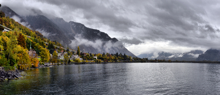 Switzerland Montreux view of Lake Geneva and the Alps in cloudy weather