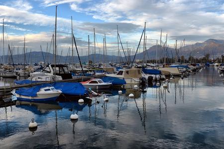 SWISS, LAKE GENEVA, 21, OCTOBER, 2017,Yachts on autumn parking lot on Lake Geneva, SWISS, LAKE GENEVA