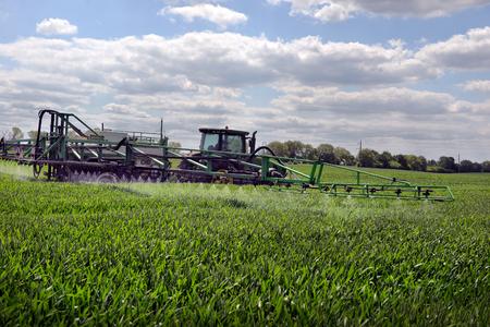 UKRAINE. 03 JUNE 2016. farmer wheat field spraying herbicides. UKRAINE. 03 JUNE 2016