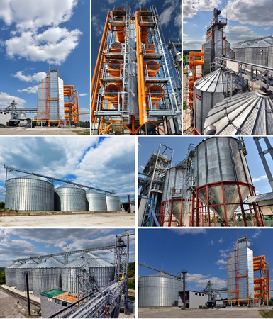 Set image. Agricultural Silo - Building Exterior, Storage and drying of grains, wheat, corn, soy, sunflower