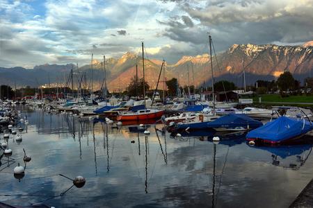 SWISS, LAKE GENEVA, 21, OCTOBER, 2017,Yachts on autumn parking lot on Lake Geneva, SWISS