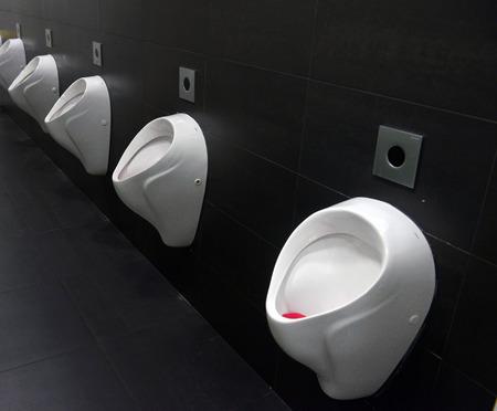 Row of urinals men public toilet Closeup white urinals in mens bathroom design of white ceramic urinals for men in toilet room Imagens