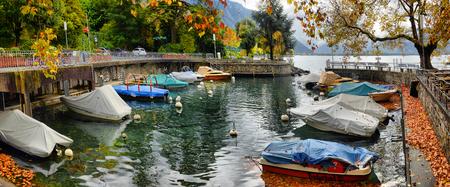 Pier at Geneva Lake in Montreux Vaud canton Switzerlandof in autumn