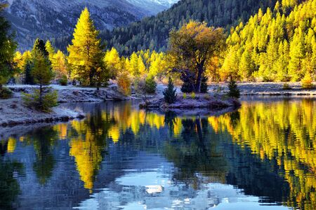 Autumn landscape with reflection in a lake in the alpine mountainsÑŽ Autumn scenery of colorful trees reflected in lake water