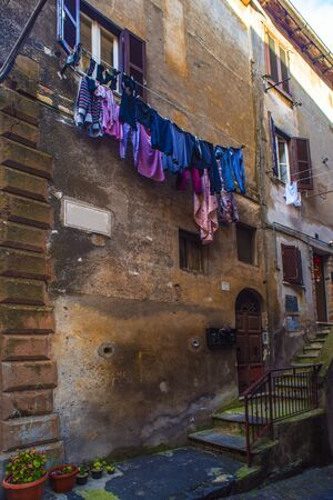 Beautiful Italian street of a small old provincial town