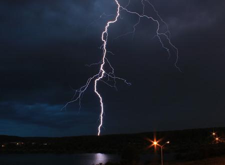 Lightning strikes the ground photo
