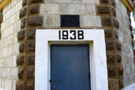 galle: Date of construction on the lighthouse in Galle Fort Stock Photo