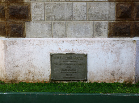 galle: Plaque with information about the lighthouse in Galle Fort