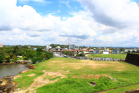 bus station: Views of the stadium and the bus station with Galle Fort
