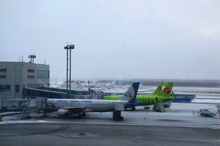 gangway: Planes at the gangway. Domodedovo Airport Editorial