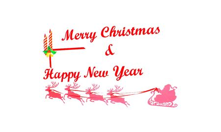 congratulating: The inscription congratulating merry Christmas and happy new year Stock Photo