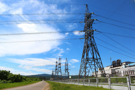 watts: Power lines to power plants Stock Photo