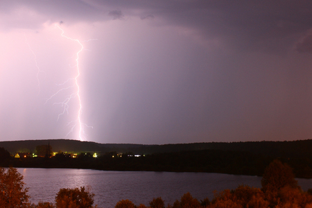 supernatural power: Lightning on a background of black sky Stock Photo