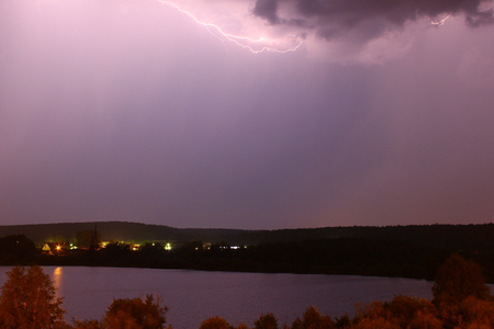 supernatural power: Lightning swept the sky Stock Photo