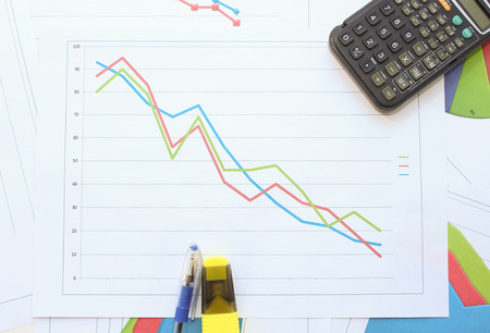 regression: The collapse of the data in the chart Stock Photo