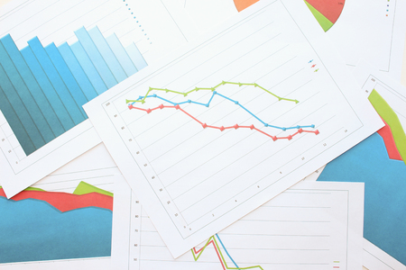 regression: A Graph markers among other diagrams Stock Photo