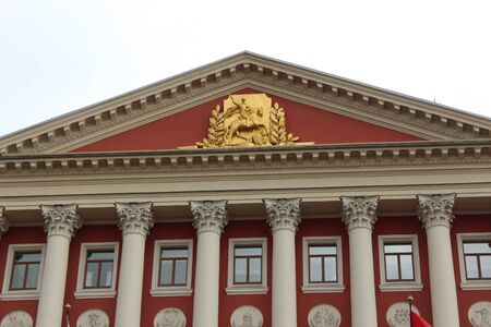 city coat of arms: Coat of arms on the building of the Moscow City Council in Moscow, Tverskaya Street
