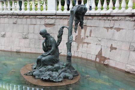 folk tales: Fountain in the Alexander Garden. Alyonushka Sculpture.