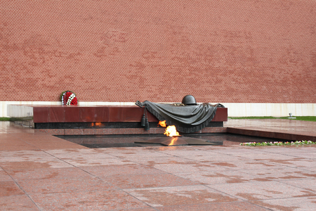 tomb of the unknown soldier: The Eternal Flame in Moscow at the tomb of the Unknown Soldier