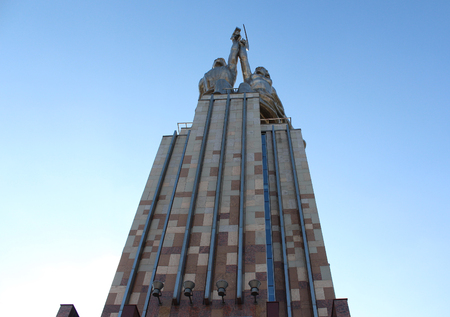 from below: The monument The Worker and Kolkhoz Woman. view from below Editorial