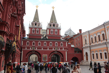double headed eagle: Resurrection (Iberian) gate in the Kremlin. Moscow