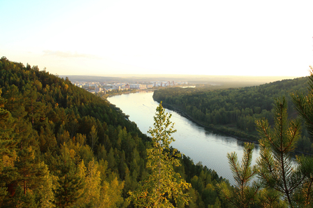 The Kan River, the hills near the town Zelenogorsk