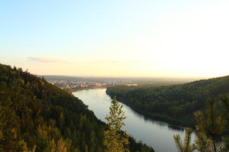 The Kan River flows near the city Zelenogorsk, Krasnoyarsk region Stock fotó