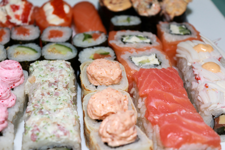 Japanese Sushi and rolls closeup