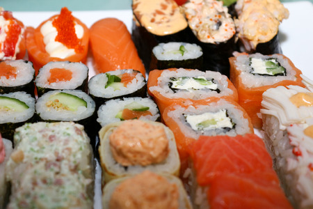 Sushi and rolls closeup Stock fotó