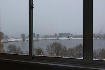 The first snow outside the window