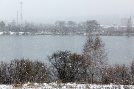 First snow over the lake
