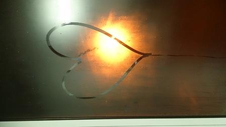 heart drawn on a foggy window Stock fotó