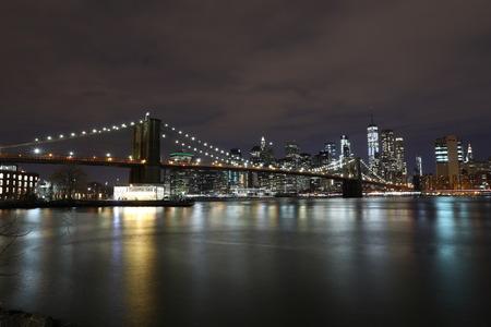 USA, New York, Manhattan. January 27, 2018. Brooklyn Bridge at night in New York Sajtókép