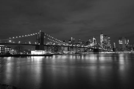 USA, New York, Manhattan. January 27, 2018. Brooklyn Bridge at night, black and white