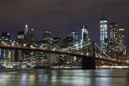 Brooklyn Bridge and Downtown Skyscrapers in New York
