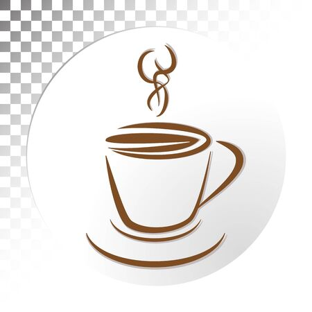 white backing: Coffee cup with white backing icon Illustration