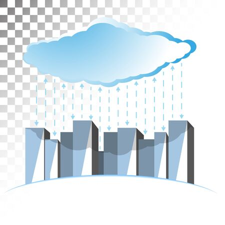 repository: Concept illustration on the theme of cloud storage with straight lines running in opposite directions. Illustration