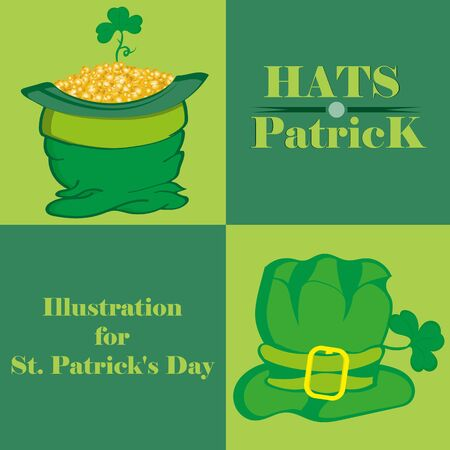 which one: Illustrations hats St. Patrick, one of which is packed full of gold coins Illustration