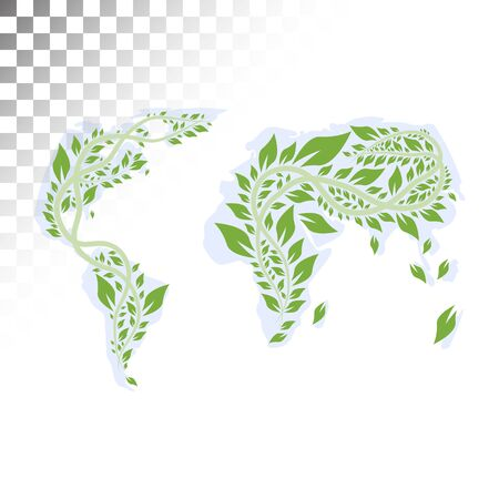 environmental awareness: Abstract illustration of the continents of vines and leaves.