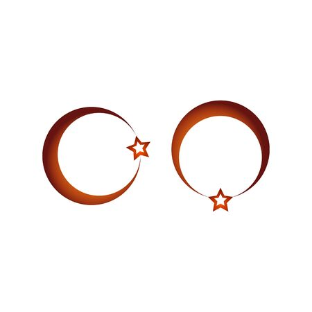 religious celebration: The crescent and star on a white background.