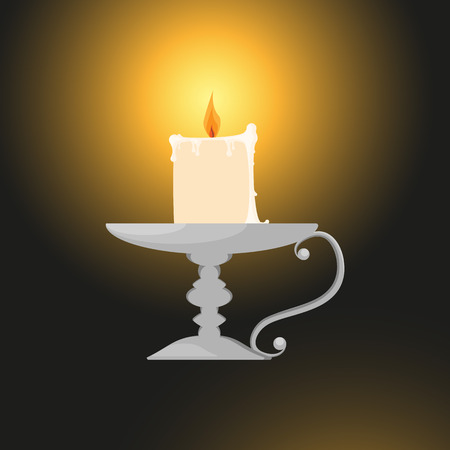 candlestick: A candle on a candlestick.