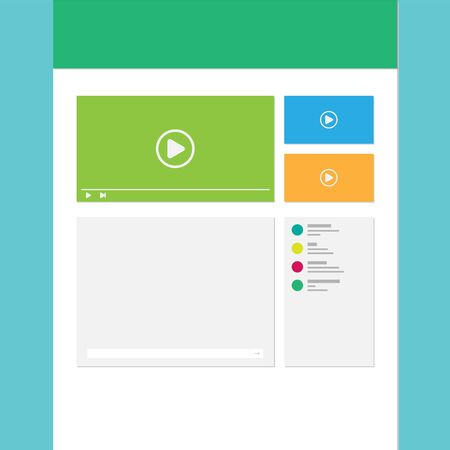 web site: Web Template for site watching video online. Vector. Illustration