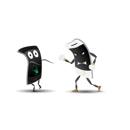Caricature. Fighting smartphones. Vector.