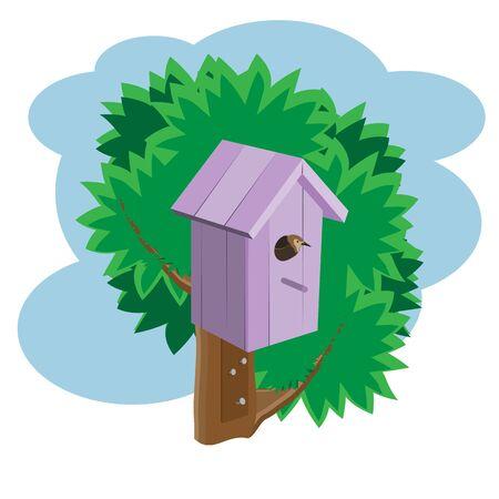Purple birdhouse on a tree with a bird. Vector. Illustration