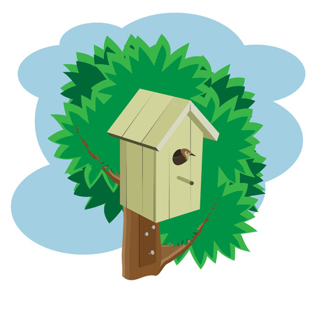 Yellow birdhouse on a tree with a bird. Vector. Illustration