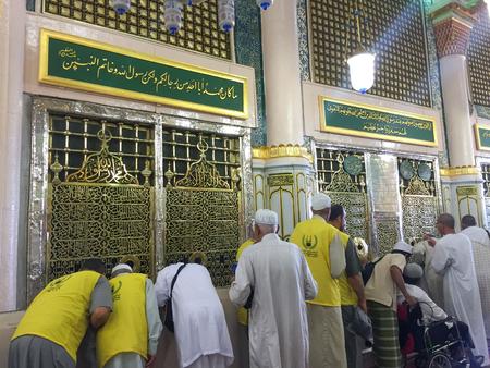 MEDINA, SAUDI ARABIA - APRIL 19, 2016 : Muslim Devotees Queueing To See The Prophet Muhammad PBUH Tomb At Prophet Muhammad Mosque In Medina