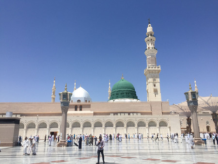 MEDINA, SAUDI ARABIA - APRIL 19, 2016 : Prophet Muhammad Mosque In Medina. Al-Masjid An-Nabawī (Prophets Mosque) Is A Mosque Established And Originally Built By The Prophet Muhammad PBUH, Situated In The City Of Medina In Saudi Arabia Editorial