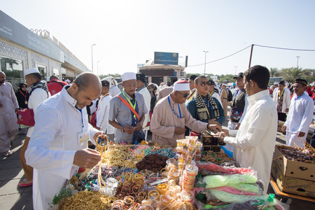 MEDINA, SAUDI ARABIA - APRIL 20, 2016 : Muslim Devotees Buying Souvenirs For Their Love Ones At Quba Mosque On A Sunny Day